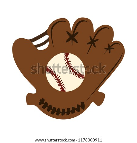 baseball glove with ball illustration. sports icon
