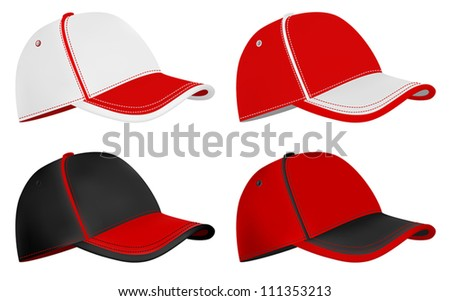 simple baseball cap design in red and line art black and white