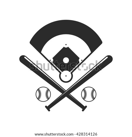 stock-vector-baseball-icons-field-bals-and-baseball-bats-in-flat-style-isolated-on-white-background