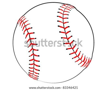 Baseball Illustration on a White Background - Vector Illustration - stock vector