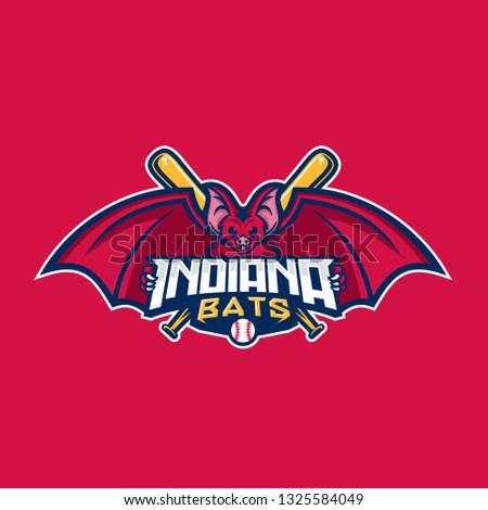 Baseball Indiana Bats MAscot Vector Illustration