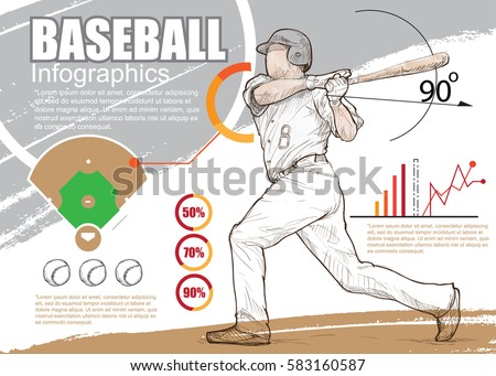 baseball infographic vector. hand drawn illustration of baseball player