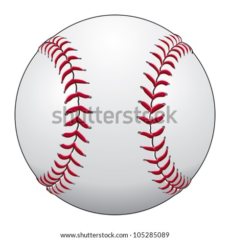 Baseball is an illustration of a baseball in white leather with red stitches.