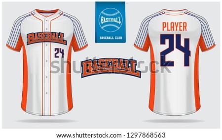 Baseball jersey or raglan t-shirt sport template design. Baseball shirt mock up. Front and back view baseball uniform. Flat baseball logo on blue label. Vector Illustration.