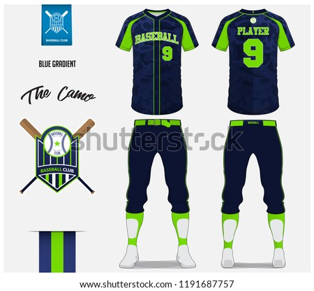 Baseball jersey, pants and socks template design. Blue camouflage pattern baseball uniform t-shirt mock up. Raglan t-shirt sport in front and back view. Flat baseball logo design design. Vector.