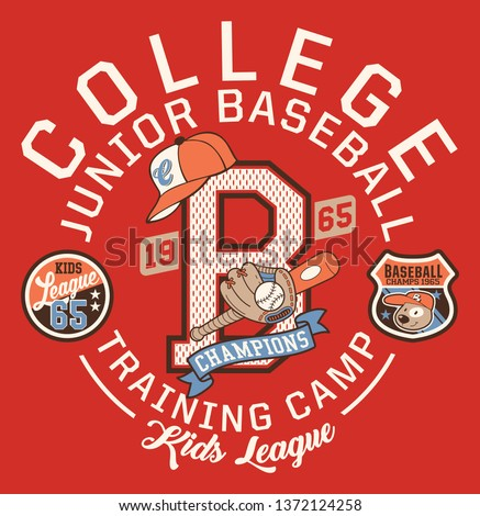 Baseball kids college league champ, vector artwork for children wear with print and embroidery applique patch