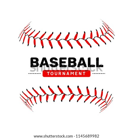 Baseball lace ball illustration isolated symbol. Vector baseball background sport design.
