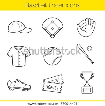 Baseball linear icons set. Isolated baseball game equipment thin line illustrations. Baseball player uniform cap, shirt and shoes. Baseball bat and ball contour symbols. Vector isolated drawings