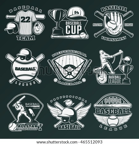 Baseball monochrome emblems of teams and competitions with sports equipment on black background isolated vector illustration