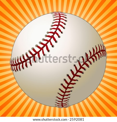 Baseball Over a Sunburst Background