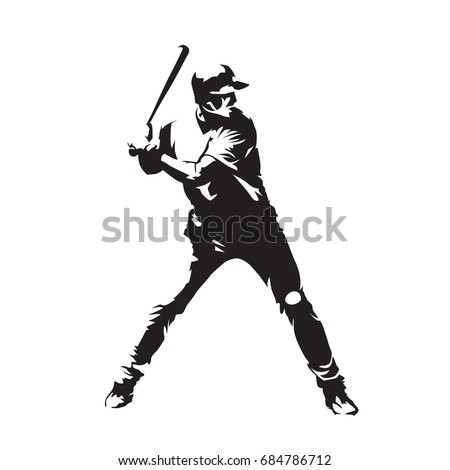 Baseball player, abstract vector silhouette