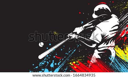 Baseball player. Baseball cap. Hitter swinging with bat. Abstract isolated vector silhouette. Iink drawing Zdjęcia stock ©