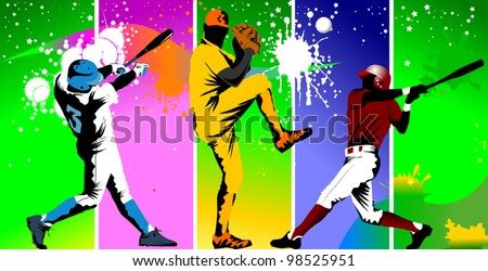 Baseball player catches the ball in the trap (vector illustration);