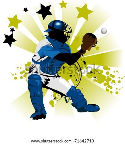 Baseball player on the field (vector illustration);