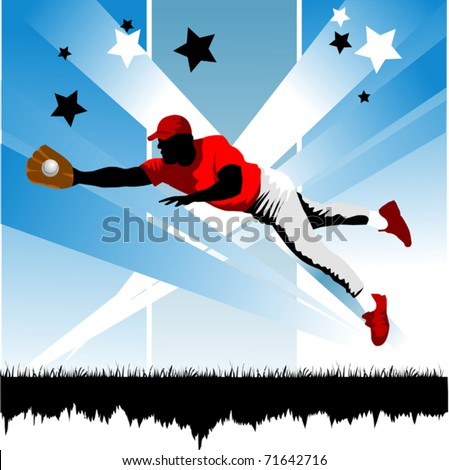 Baseball player on the field (vector illustration);