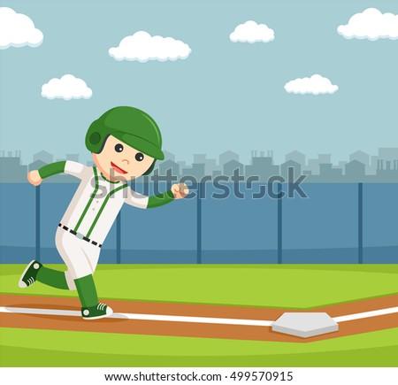 baseball player running to the