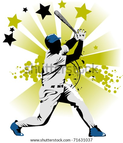Baseball player strikes the ball with a stick;
