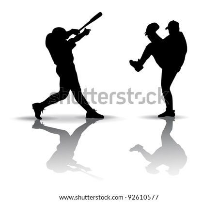 Baseball players Silhouette - stock vector