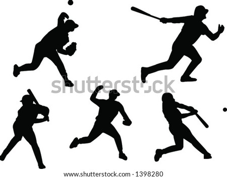 baseball players silhouettes (scale with no quality loss)
