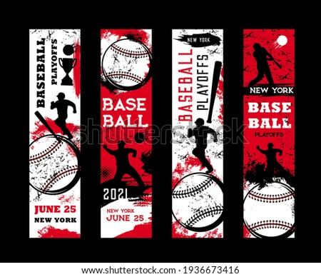 Baseball playoffs vector flyers, sport tournament vintage grunge cards with baseball player and equipment. Sportsman in helmet with bat hit ball on stadium, New York league, college game, championship