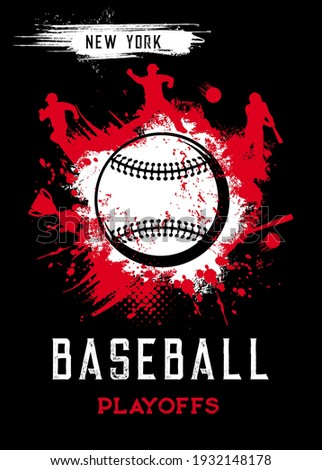 Baseball playoffs vector poster, sport tournament vintage grunge card with baseball ball and players. Sportsman in helmet with bat hit ball on stadium, New York league, college game, championship