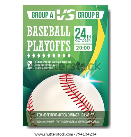 Baseball Poster Vector. Baseball Ball. Design For Sport Bar Promotion. Baseball Club, Academy Flyer. Invitation Illustration