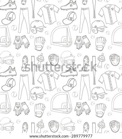 Baseball set seamless background, hand drawn vector illustration of various stylized baseball icons, baseball equipment, baseball icons sketch, baseball field, ball, mitt