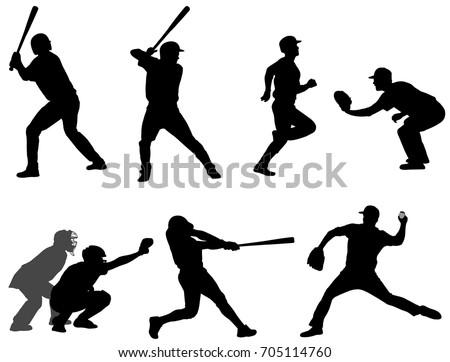 baseball silhouettes collection 3 - vector