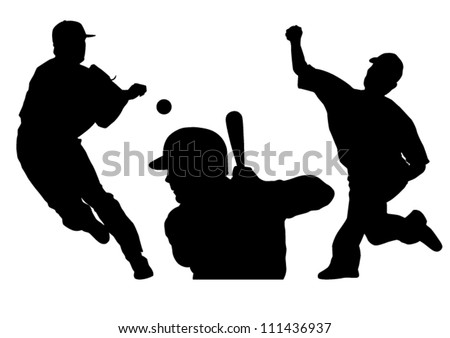 Baseball silhouettes vector illustration showing two different pitchers and one player at bat.