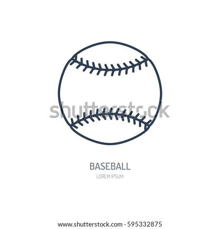 Baseball softball vector line icon. Ball logo, equipment sign. Sport competition illustration