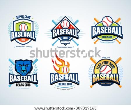 baseball sport badge logo set