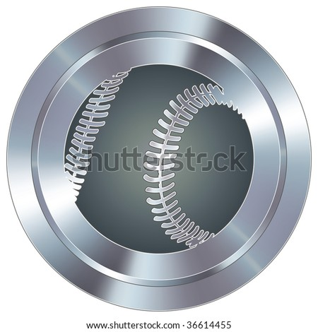 Baseball sport icon on round stainless steel modern industrial button