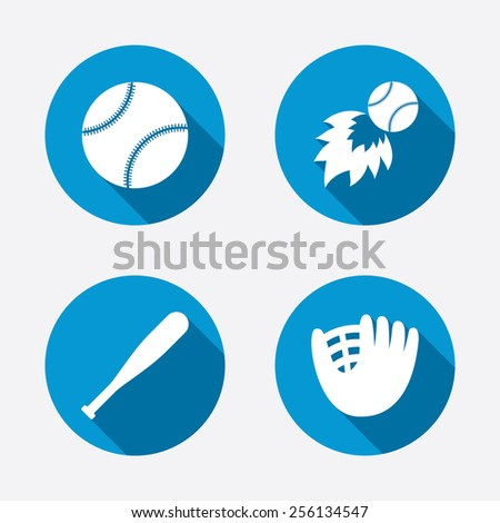 Baseball sport icons. Ball with glove and bat signs. Fireball symbol. Circle concept web buttons. Vector