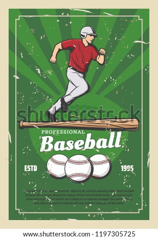 Baseball sport retro poster player running for ball and wooden bat. Team game for professional sportsmen, tournament announcement. Fit man in uniform and cap on grass field vector, champion league