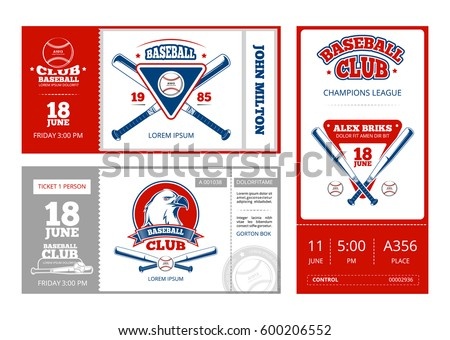 Baseball sports ticket vector design with vintage baseball team emblems