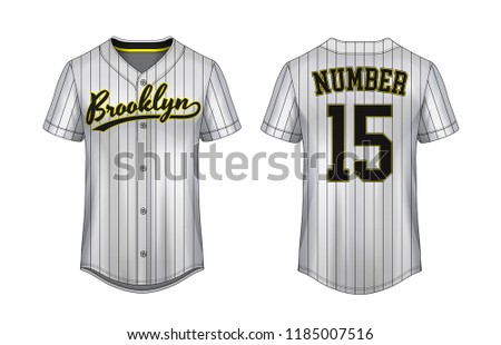 5101c7b2 Baseball t-shirt design template, Sport jersey mockup. uniform front and  back view