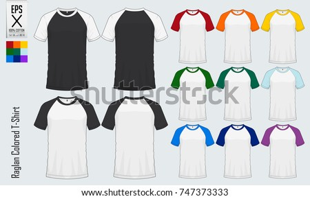 Baseball t-shirt. Raglan round neck t-shirts templates. Set of colored sleeve jersey mockup in front view and back view for baseball, soccer, football , sportswear or casual wear. Vector illustration.