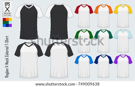 Baseball T Shirt Raglan V Neck Shirts Templates Set Of