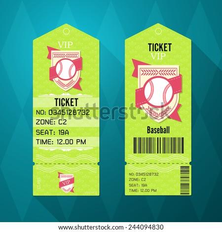 Baseball Ticket Design Template Retro Style