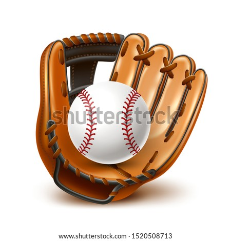 Baseball tournament flyer, poster template. Realistic baseball leather glove and ball for championship promotion, betting poster vector design. Team sport league banner.