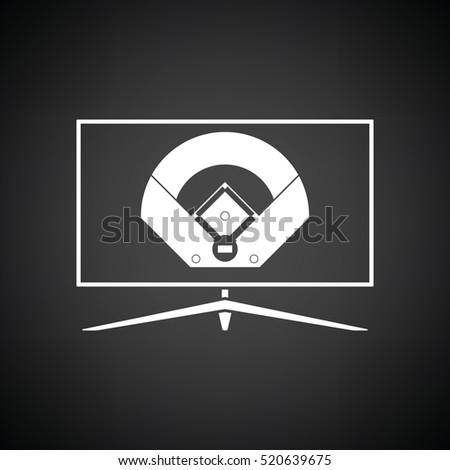 Stock Photo Baseball tv translation icon. Black background with white. Vector illustration.