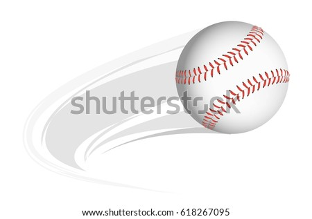 baseball with animated motion lines on a white background vector design.