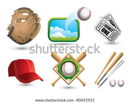 Baseballs, bats, diamond, cap, tickets, and glove on white backdrop