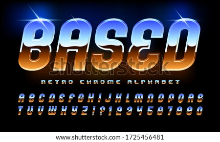 Based retro chrome alphabet; an 80s style high tech alphabet with the classic airbrushed chrome look so popular in the eighties. Glints and highlight give it a sparkling shiny reflective look.