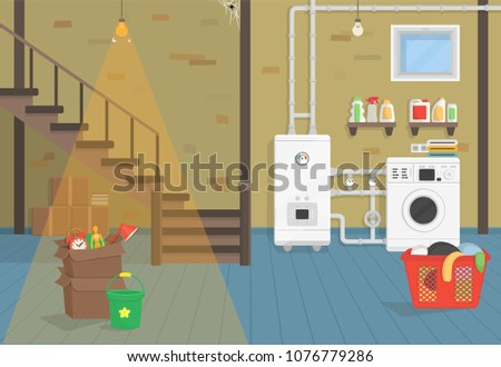 Basement with boiler, washer, stairs. Vector illustration of flat cartoon style.