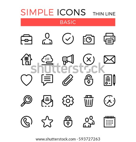 Basic business, internet web interface linear concepts, vector thin line icons set. 32x32 px. Modern line graphic design for website, web design, infographics. Pixel perfect vector outline icons set.
