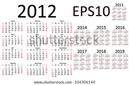 Basic Calendar 2012, 2013, 2014, 2015, 2016, 2017, 2018, 2019 in French (EPS10)