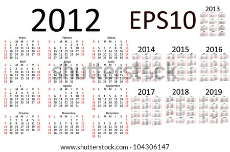 Basic Calendar 2012 2013 2014 2015 2016 2017 2018 2019 in Spanish EPS10