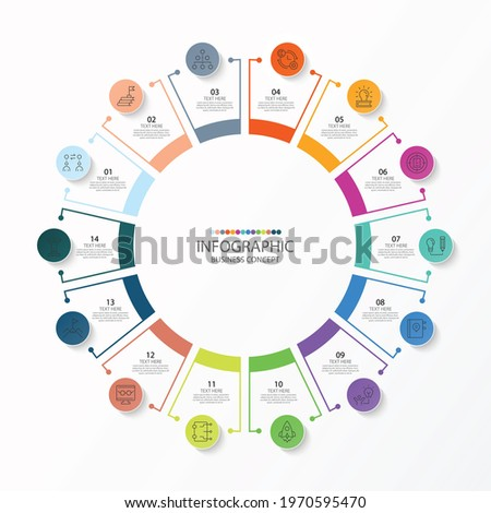 Basic circle infographic template with 14 steps, process or options, process chart, Used for process diagram, presentations, workflow layout, flow chart, infograph. Vector eps10 illustration.