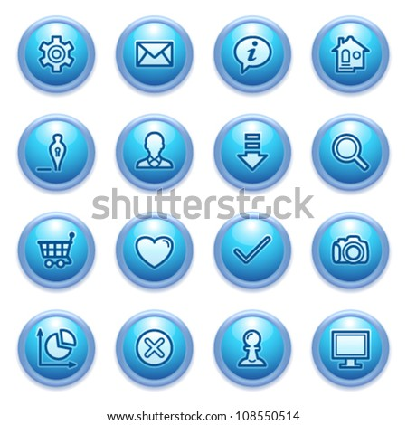 Basic contour icons on blue buttons.
